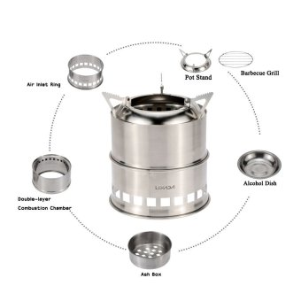 LIXADA Portable Stainless Steel Lightweight Wood Stove Alcohol Stove Burner Outdoor Cooking Picnic BBQ Camping - intl Price Philippines
