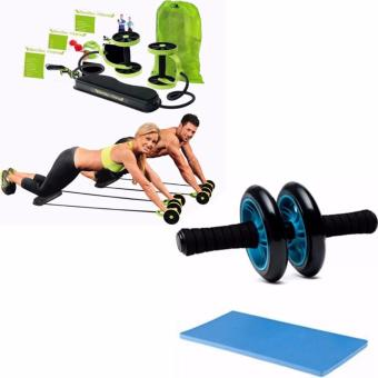 Harga Revoflex Xtreme (Green)With Abdominal Wheel Gym Exercise Roller with Extra Thick Knee Pad Mat-for Best Abs Workout-perfect Fitness Equipment (Blue)