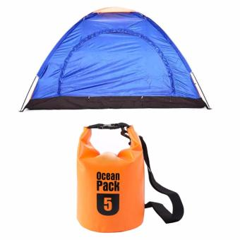 Harga 4-Person Dome Camping Tent (Multicolor) with Ocean Pack Waterproof Floating Dry Bag 5L ideal for Outdoor Sports (Orange)