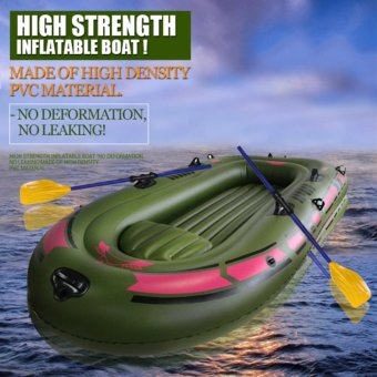 Inflatable Boats 2 Person Fishing Rubber Boats+Free Paddles andPump(Army Green) - intl Price Philippines