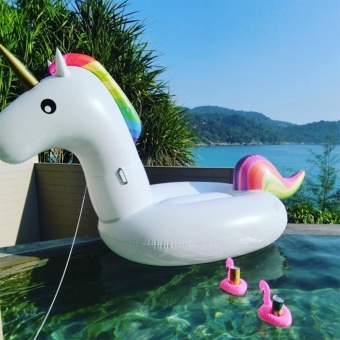 Inflatable Unicorn Pool Float, Medium Party Tube Raft, Outdoor Swimming Pool Floatie Lounge Toy for Adult Womens & Kids - intl
