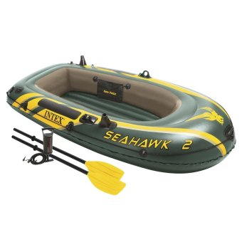 INTEX Seahawk 2 Inflatable Boat Set with Aluminum Oars and HighOutput Air Pump (Army Green)