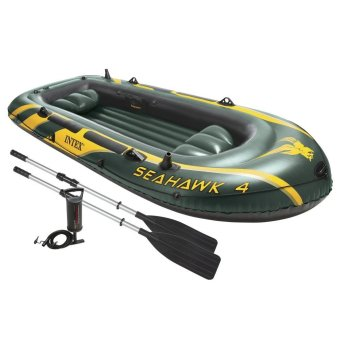 INTEX Seahawk 4, 4 Person Inflatable Boat Set with Aluminum Oarsand High Output Air Pump (Army Green)