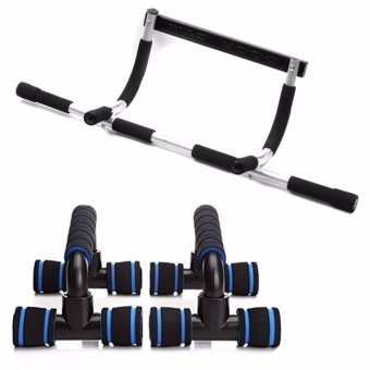 Iron Gym (Black/Gray) with Free Push Up Stand (Black/Blue)