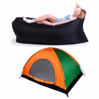 J&J 2 Person Automatic Family Camping Tent with Inflatable AirBag Sofa Lounger Outdoor Beach Camping Sleeping Lazy Bed - Black