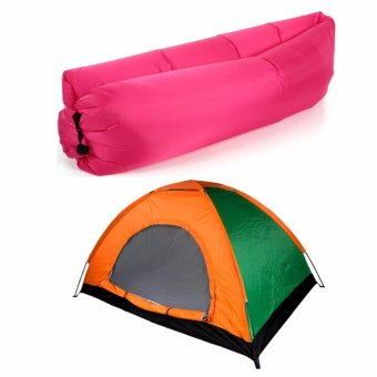 J&J 2 Person Automatic Family Camping Tent with Inflatable AirBag Sofa Lounger Outdoor Beach Camping Sleeping Lazy Bed - Pink