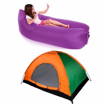J&J 2 Person Automatic Family Camping Tent with Inflatable AirBag Sofa Lounger Outdoor Beach Camping Sleeping Lazy Bed - Purple