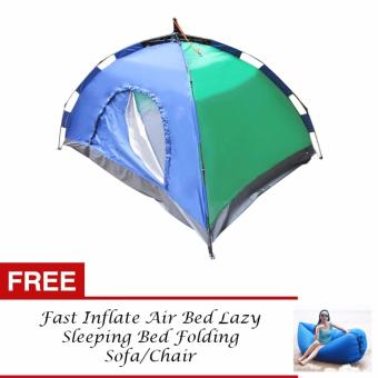 J&J 4 Person Automatic Family Camping Tent with FREE FastInflate Air Bed Lazy Sleeping Bed Folding Sofa/Chair (Blue)
