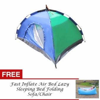 J&J 4 Person Automatic Family Camping Tent with FREE FastInflate Air Bed Lazy Sleeping Bed Folding Sofa/Chair (SkyBlue)