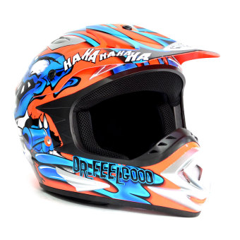 King Cobra K101A Motorcycle Helmet Large ( Orange/Blue )