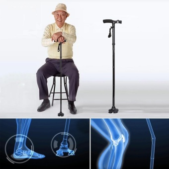 leegoal Folding Cane Walking Stick With LED Light Sponge Handle 5 Adjustable Height Levels For Men Women - intl