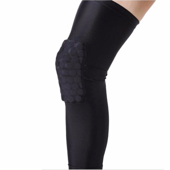 Leg Knee Honeycomb Kneepad Protective Pad Crashproof Antislip Basketball Sport Long Guard Sleeve Black Size M
