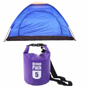 Lightweight 2-4 Person Camping Backpacking Tent With Carry Bag withOcean Pack Waterproof Floating Dry Bag 5L ideal for Outdoor Sports(Violet)