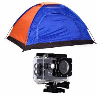Lightweight 2-4 Person Camping Backpacking Tent With Carry Bag withW110 HD DV 1080p 5MP Sports Action Camera (Black) Price Philippines