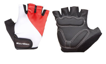 louiwill Wolfbike Bike Bicycle Cycling Riding Short Half Finger Gloves(Red,M) - INTL