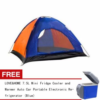 LOVE&HOME Outdoor 4-person camping tent (Multicolor) FREE 7.5L Mini Fridge Cooler and Warmer Auto Car Portable Electronic Refrigerator (Blue)