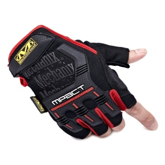 Mechanix Gym Tactical Fitness Gloves Army Military Sport MotorcycleHalf Finger Fingerless Men Red - intl