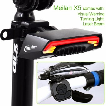 Meilan X5 Smart Bicycle Light Remote Wireless Rear Light Turn Signal with Laser Beam USB Chargeable IPX4 Rain Waterproof Tail Light
