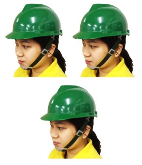 Meisons Safety Helmet Hard Hat PE Vguard (Green) Set of 3