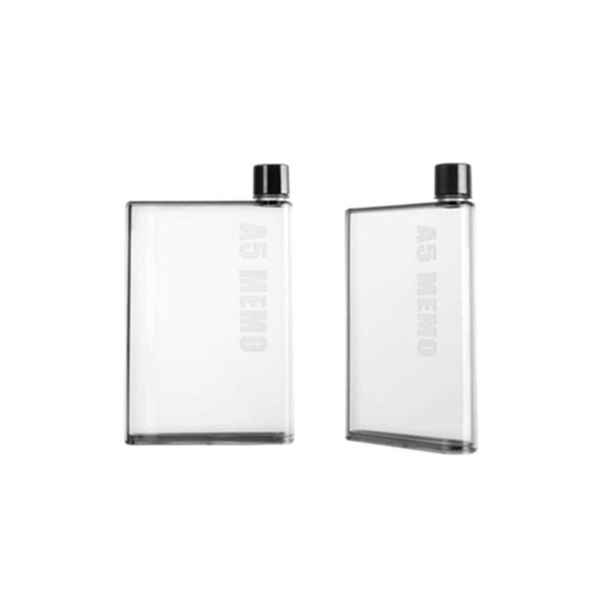 Slim Water Bottle memobottle a5 size slim water bottle 420ml transparent white