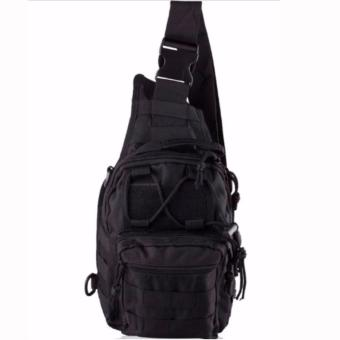 Men Tactical Outdoor Sport Crossbody Sling Shoulder ChestWaterproof Bag Backpack (Black)
