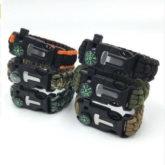 Men's Paracord Survival Bracelet Kits 550 Parachute Cord WristbandEmergency Rescue Rope Flint Fire Starter Whistle Compass Kit - intl Price Philippines