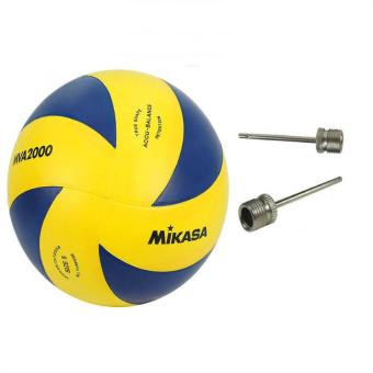 Mikasa MVA 2000 Volleyball (Yellow/Blue) with Volleyball Pin