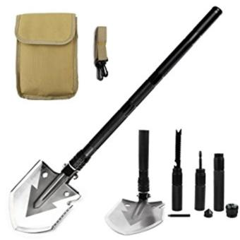 Military Portable Folding Shovel-Multi Purpose Steel Spade OutdoorSurvive Equipment for Camping,Hunting,Fishing,Gardening,ArmyEntrenching,Car Emergency (Black)