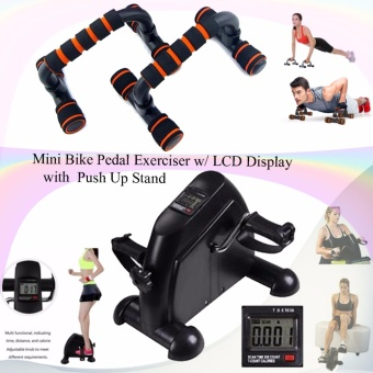 Mini Bike Pedal Exerciser w/ LCD Display (Black) with Push Up Stand(Black/Orange)