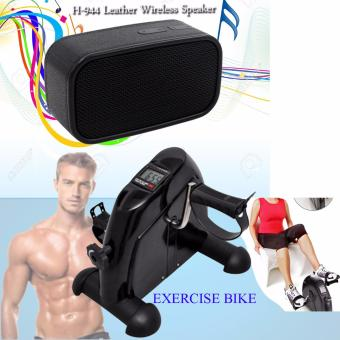 Mini Pedal Exerciser w/ LCD Display Indoor Exercise Bike ResistanceAdjustable (Black) with H-944 Leather Style Design BluetoothWireless Speaker (Black)