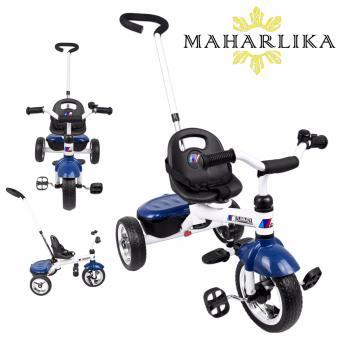 MK LJ-A09 Hand Push Bike Tricycle Bike Trolley Assist Stroller PushSteer Handle Pushchair Ride-On BLUE