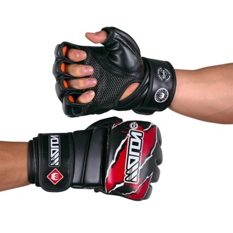 MMA Boxing Gloves High Quality PU Material MMA Half Fighting Gloves Muay Thai Training Breathable Male Fitness For Adult - intl - 2