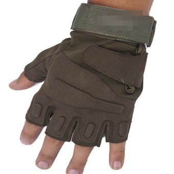 Motorcycle Cycling Tactical Half Finger Army Airsoft Combat Tactical Gloves (Green)- Intl
