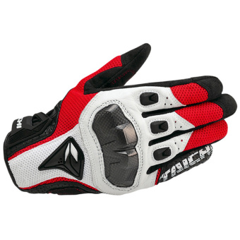 Motorcycle Gloves Racing off-road ride gloves Tactical Sheepskin Leather Gloves Red+white Size L