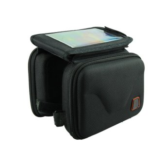 Mountain Bike Bilateral Cell Phone Pocket Tube Outdoor Sports Saddle Bag Black