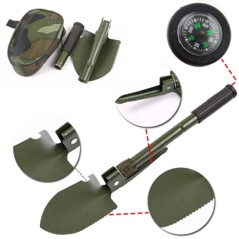 Multi-function Metal Foldable Shovel Spade Pick Camping Outdoor Survival Tool - intl