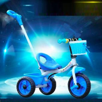 New Best 2017 Baby Tricycle Bike Trolley Children Kids Tricycle Three Wheels Front Back Basket Stroller Bicycle Buggy Pram Pushchair (Blue)