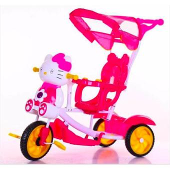 New Best 2017 Baby Tricycle Bike Trolley Children Kids Tricycle Three Wheels Front Back Basket Stroller Bicycle Buggy Pram Pushchair (Pink)