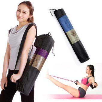New Convenience Black Portable Yoga Mat Bag Nylon Mesh Adjustable Strap - intl - 3