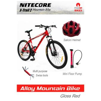 Nitecore Mountain Bike X-Trail 2 Package with Sakoni Helmet, MIni Floor Pump and swiss tools