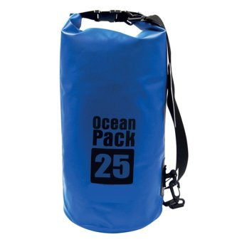 Ocean Pack Portable Barrel-Shaped Waterproof Dry Bag 25L (Blue)