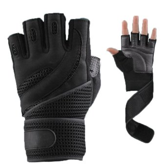OEM 1 Pair Weightlifting Training Fitness Gloves Wrist Wrap Workout Black/Brown