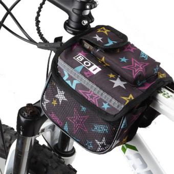 OEM 3PC Bike Storage Front Tube Frame Pannier Double Bag (Coffee)
