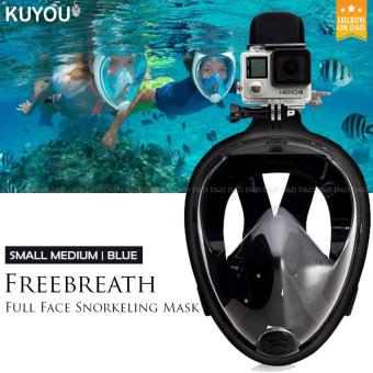 Oneline Easy Breath Full Dry Diving Mask Swimming Goggles for Gopro Camera (Black) S/M