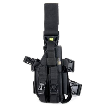 Outdoor Essentials Gun Holster Low Carry with 3 Mag Pockets (Black)