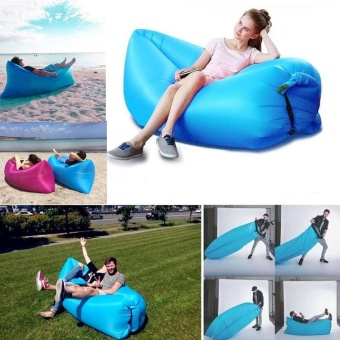 Outdoor Portable Beach Lazy Fold Fast Inflatable Sofa Air Bed Air Lounger Chair couch Banana Sleeping Bag Mattress Seat Couch Camping Lay bag lazy bag Hammock camping(Emerald Green) - intl - 4