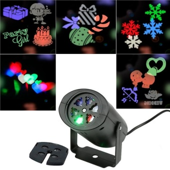 Outdoor Rotating Night Light Projector with UK Plug & 5pcsPattern Slides for Christmas Holloween Holiday Party LandscapeGarden Decorations - intl