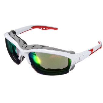 Outdoor Sport Cycling Bicycle Bike Riding Sun Glasses Eyewear Goggle UV400 Lens White Frame colorful Lens