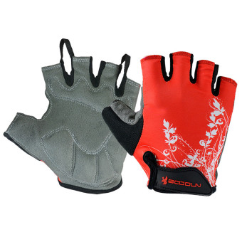 Outdoor Sports Bike Bicycle Cycling Biking Half Finger Gloves L Red
