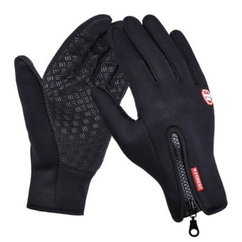 Outdoor Sports Hiking Bicycle Bike Cycling Gloves for Men WomenWindstopper Simulated Leather Soft Warm Gloves - intl